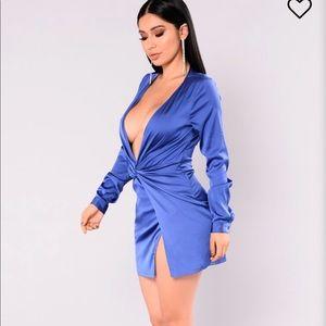 Satin blue party dress.
